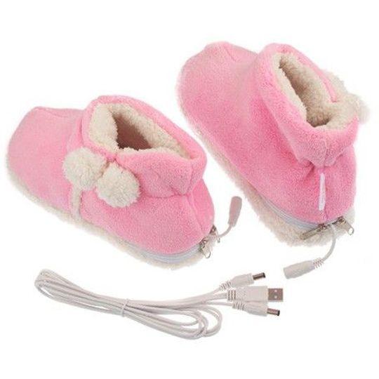 Тапочки с подогревом от USB Угги Розовые