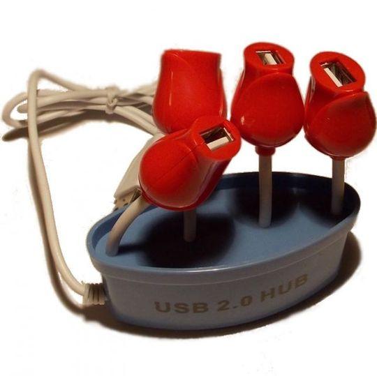 USB Хаб Букет роз (Голубой)