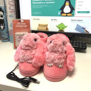 Тапочки с подогревом от USB Розовые кролики