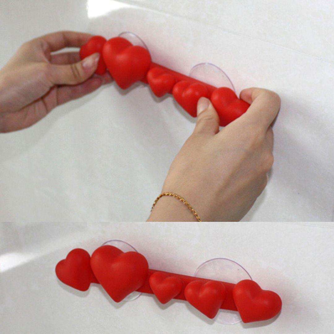Держатель для зубных щеток Сердечки (Красный) Крепление