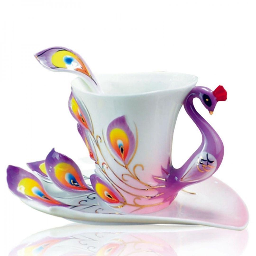 Кружка с блюдцем и ложкой Жар-птица (Фиолетовая)