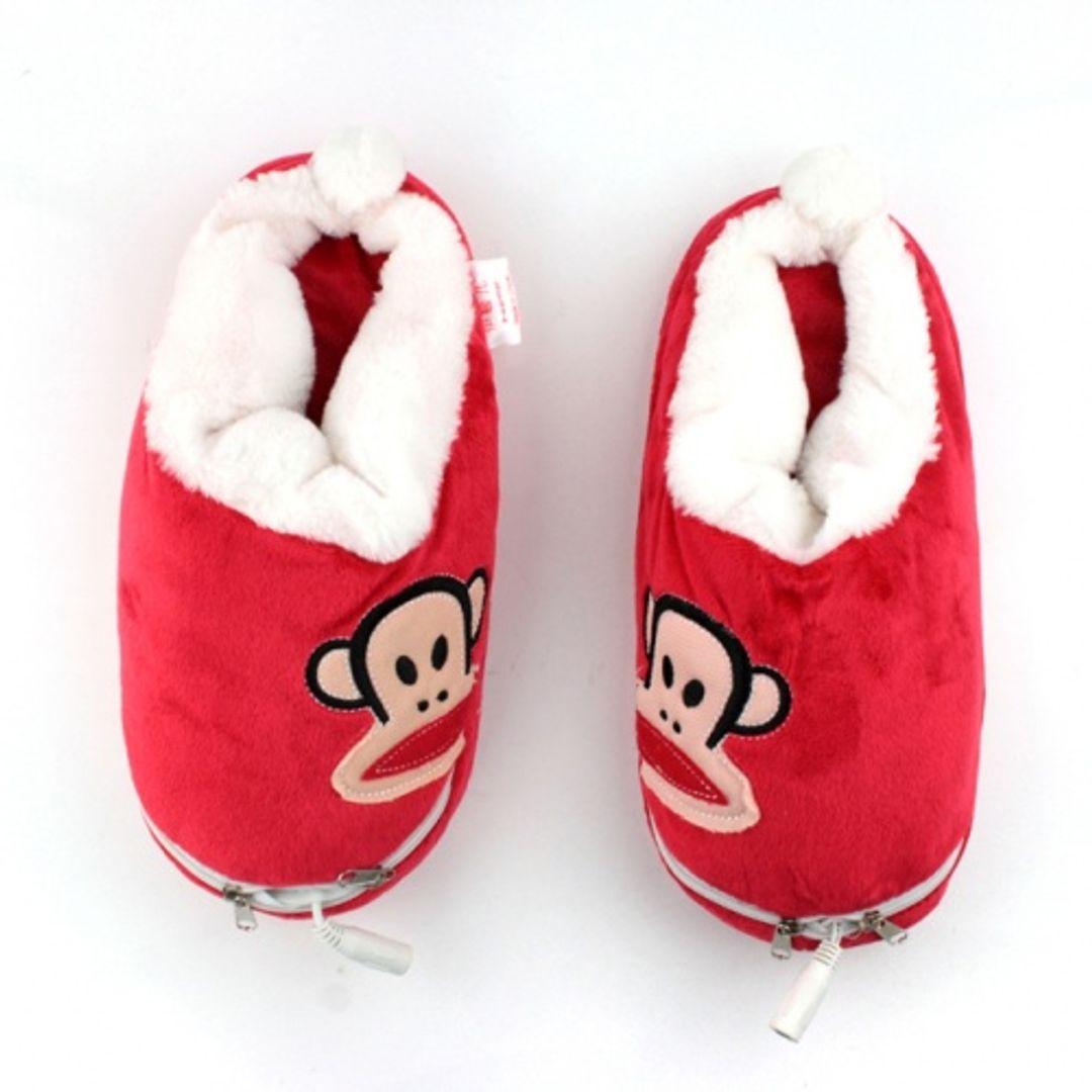 Тапочки с подогревом от USB Обезьянки Красные