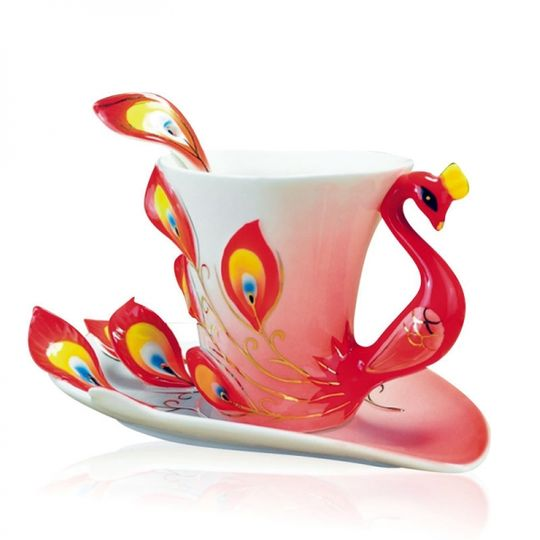 Кружка с блюдцем и ложкой Жар-птица (Красная)