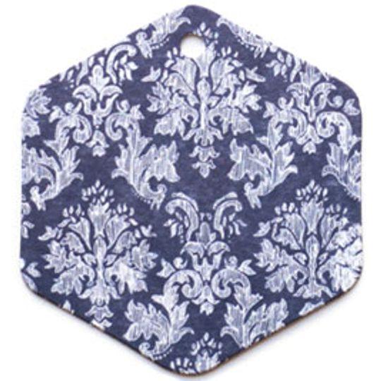 Бирка упаковочная Барокко — синий шестигранник