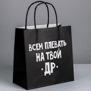 Подарочный пакет Всем плевать на твой др (22*22*11 см)