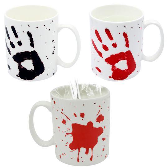 Термокружка Кровавая рука В холодном виде и в нагретом с двух сторон