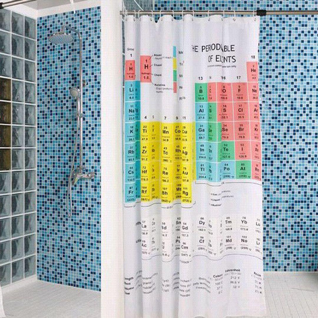 Шторка для ванной Периодическая система элементов В интерьере