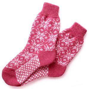 Носки шерстяные розовые с белыми снежинками