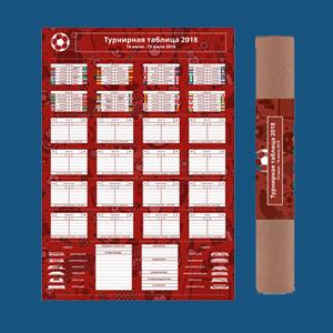 Плакат с турнирной таблицей<br>Чемпионата мира по футболу