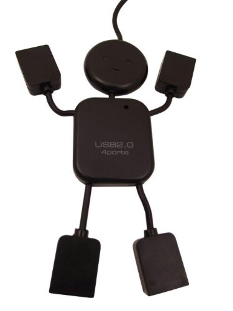 USB Хаб Человечек Черный