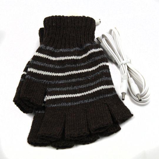 Перчатки с подогревом от USB Коричневые