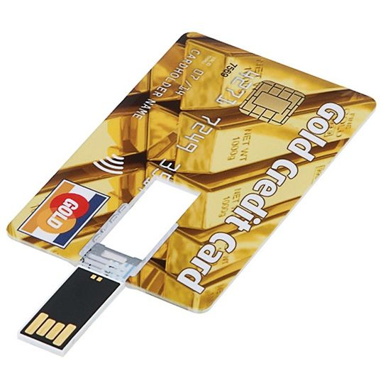 Флешка Кредитка Gold Credit Card 8 Гб Готова к работе