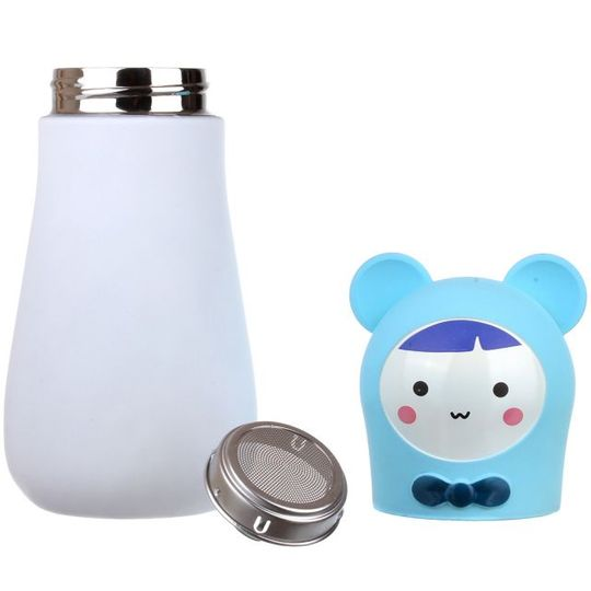 Кружка-термос Мишка Bear (Белый с голубым) Крышка и ситечко отдельно