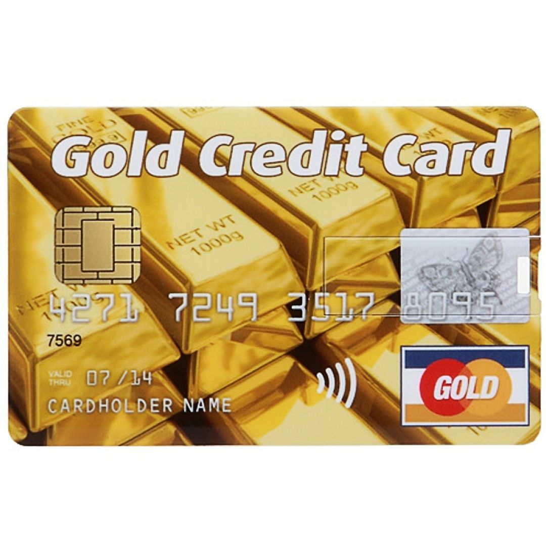 Флешка Кредитка Gold Credit Card 16 Гб