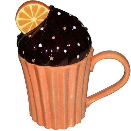 Кружка с крышкой Капкейк (Апельсиновый)