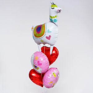 Букет из шаров Лама с сердцами (5 шаров)