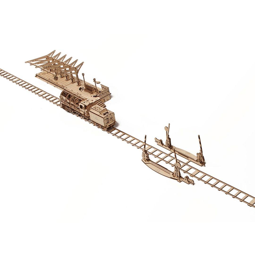 Механический 3D Пазл Ugears Переезд Перрон и локомотив приобретаются отдельно