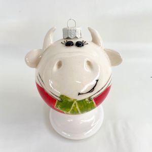 Фарфоровый елочный шар Коровка с баксами (ручная роспись)