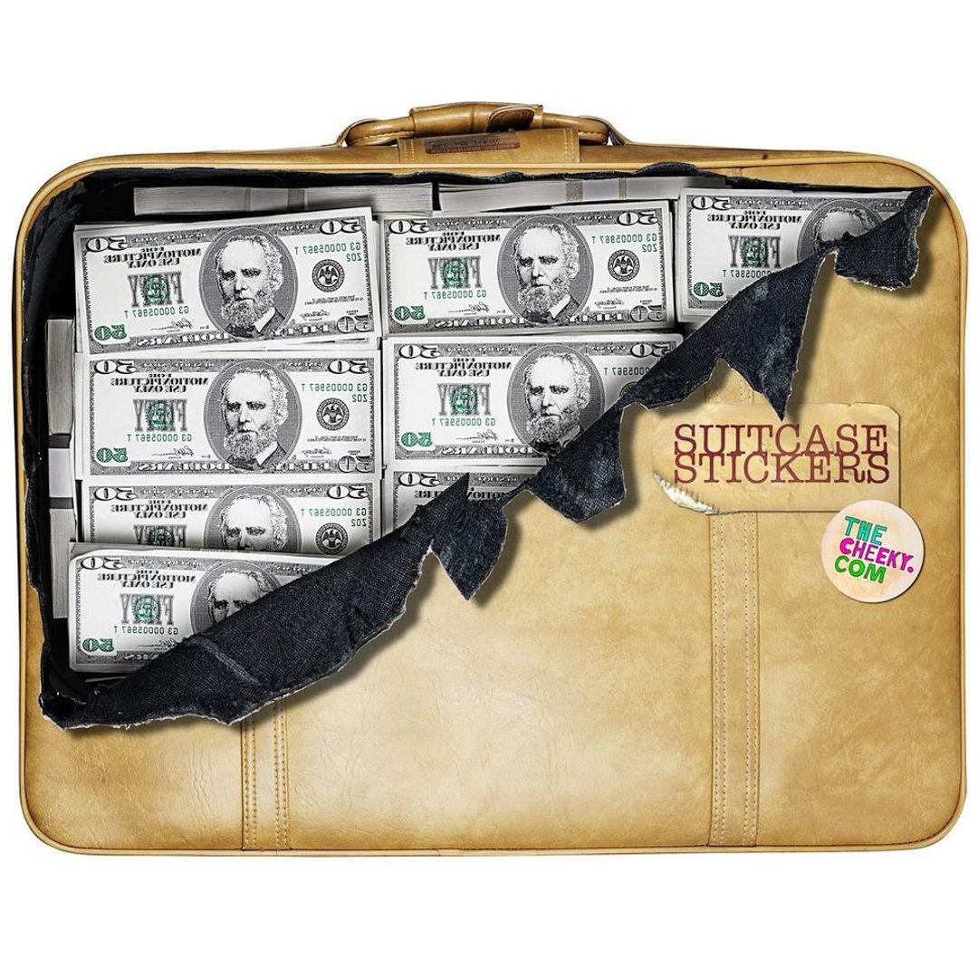 Наклейка на чемодан Баксы На чемодане