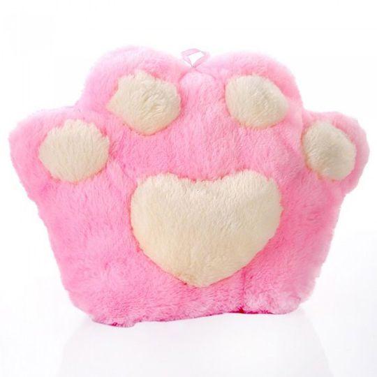 Светящаяся подушка Лапа (Розовая с белым)