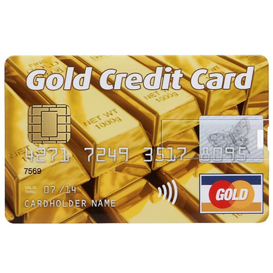 Флешка Кредитка Gold Credit Card 8 Гб Лицевая сторона