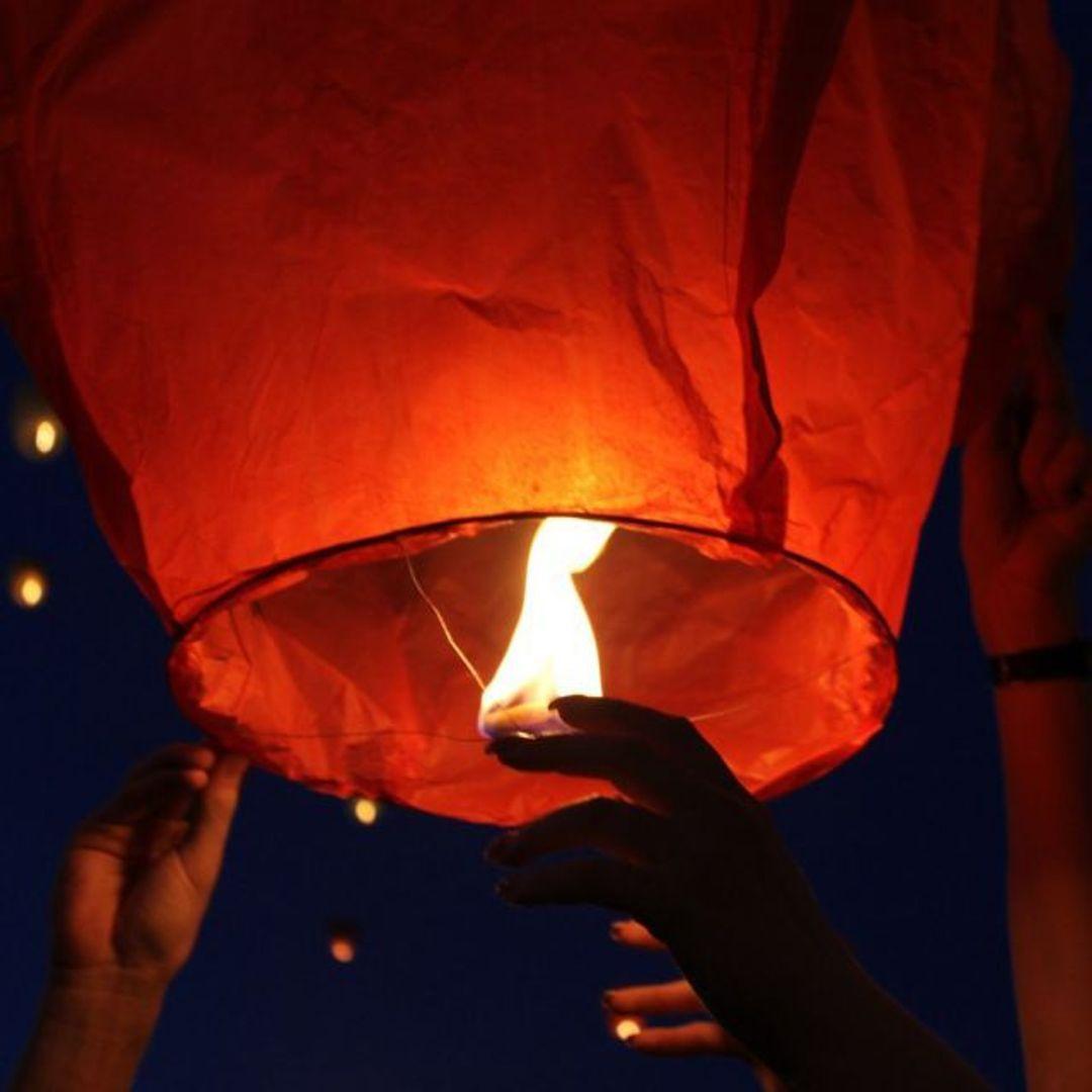 Летающий фонарик (Оранжевый) Процесс запуска