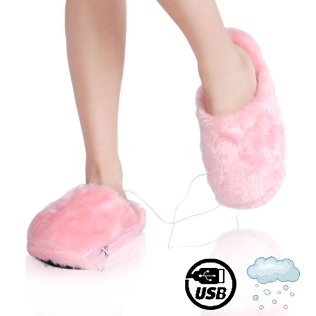 Тапочки с подогревом от USB Розовые