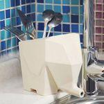 Горшок-органайзер Слон (Белый) Со столовыми приборами
