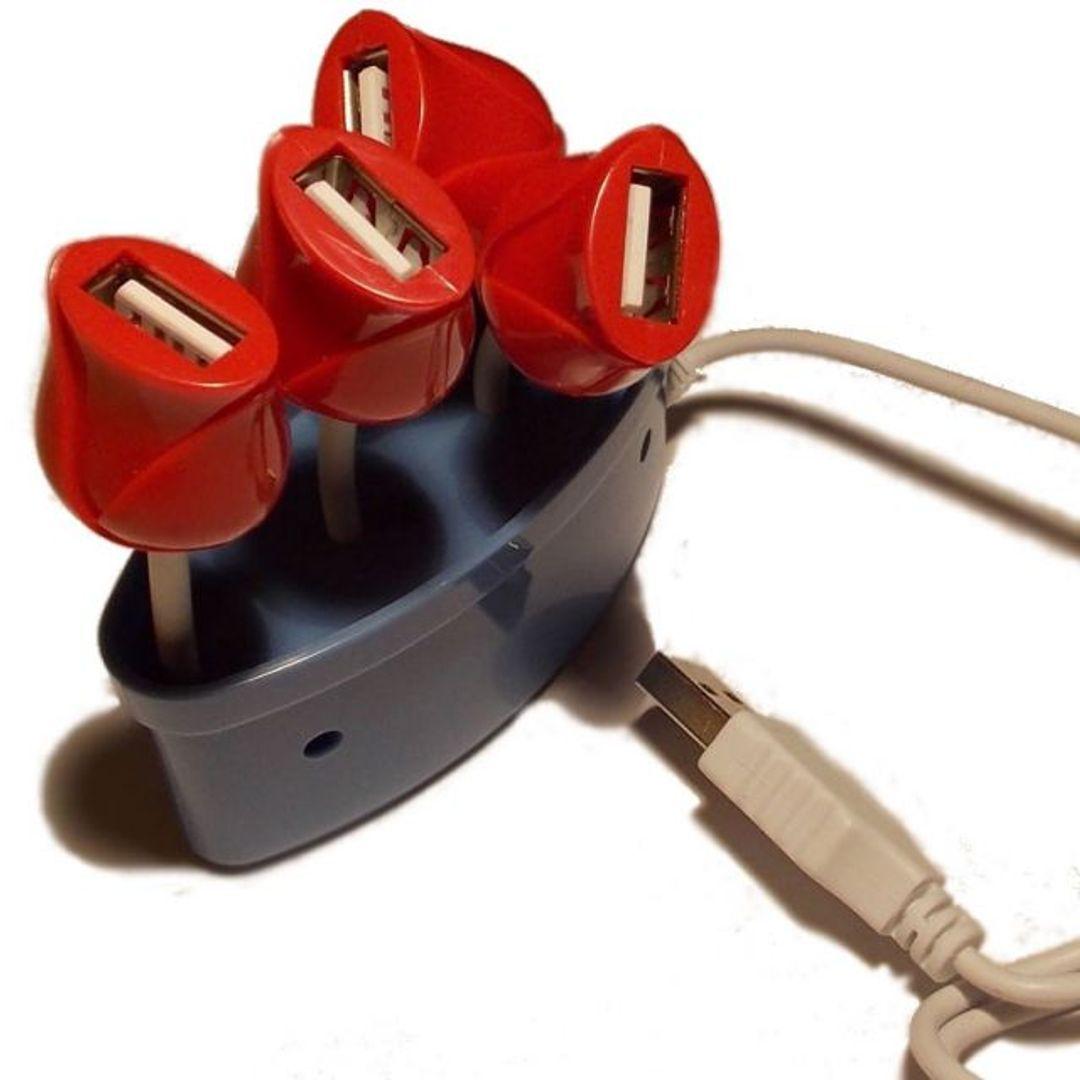 USB Хаб Букет роз (Голубой) Вид сверху