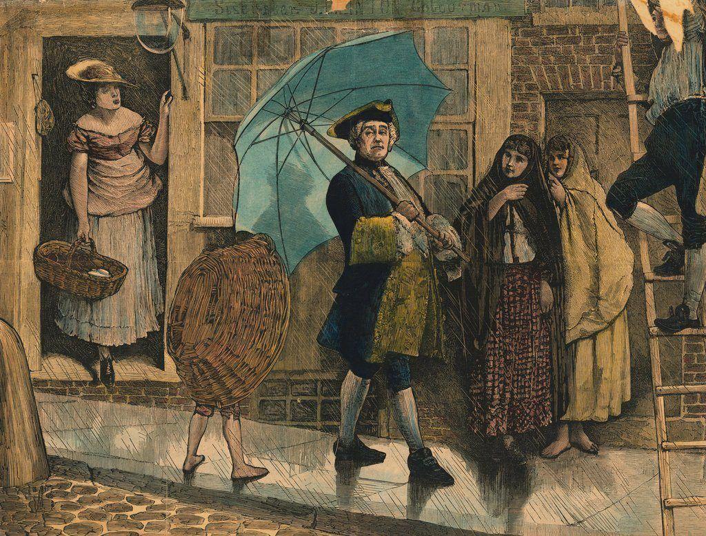 Джонас Хенвей впервые использует зонтик для защиты от дождя
