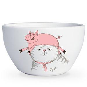 Тарелка глубокая Кот в костюме Хрю!