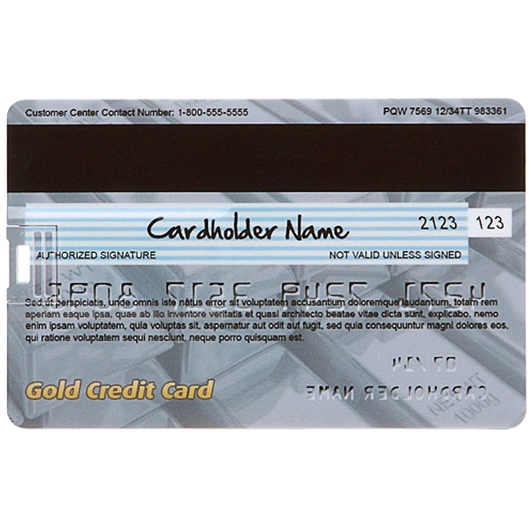 Флешка Кредитка Gold Credit Card 8 Гб Обратная сторона