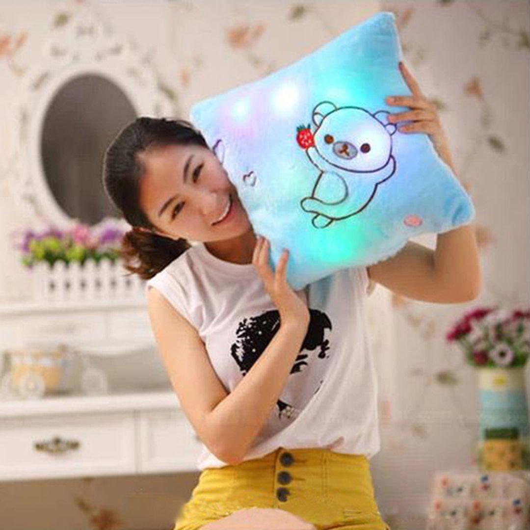 Светящаяся подушка Мишка (Белая) С голубой подсветкой