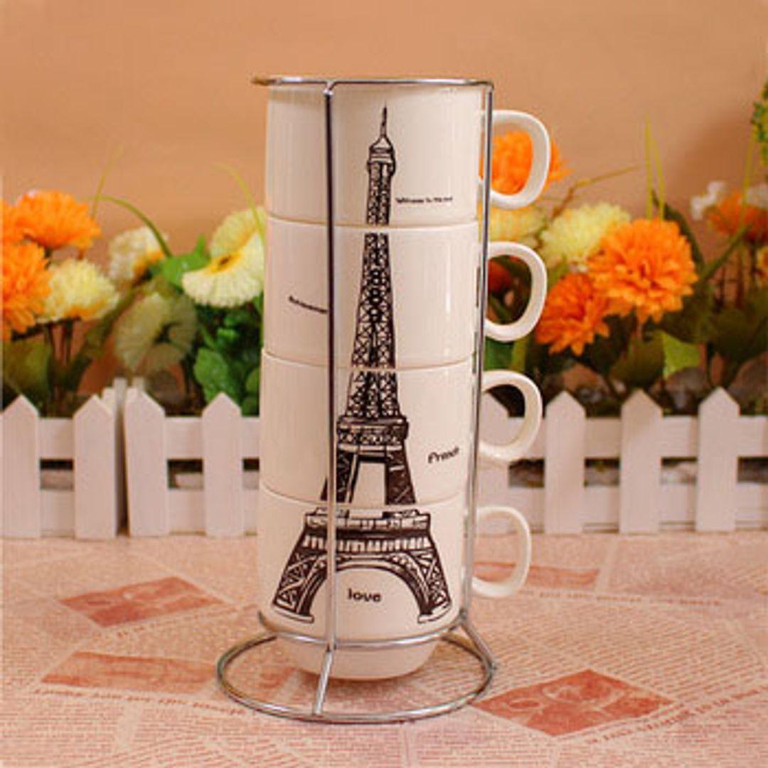 Набор чашек Эйфелева башня В интерьере