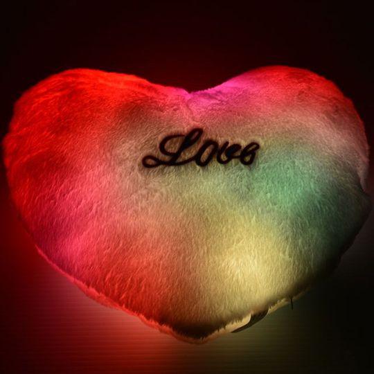 Светящаяся подушка Сердечко (Красная) С подсветкой
