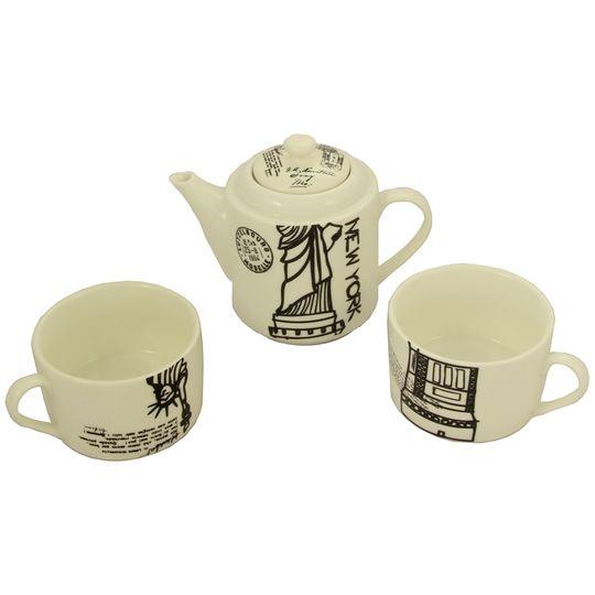 Чайный набор Нью-Йорк Чайник и две чашки