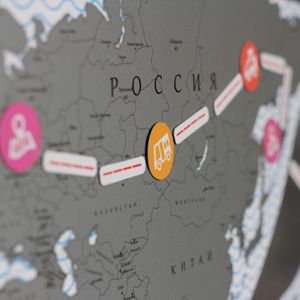 Магнитная Скретч-карта мира True Map Puzzle Silver