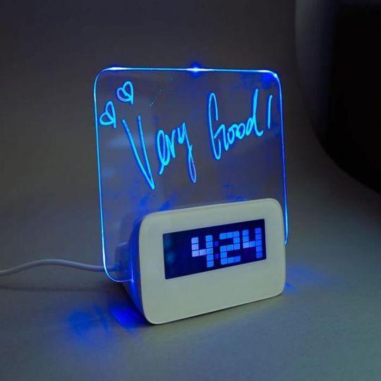 Часы Доска для записей с USB-хабом (Синий)