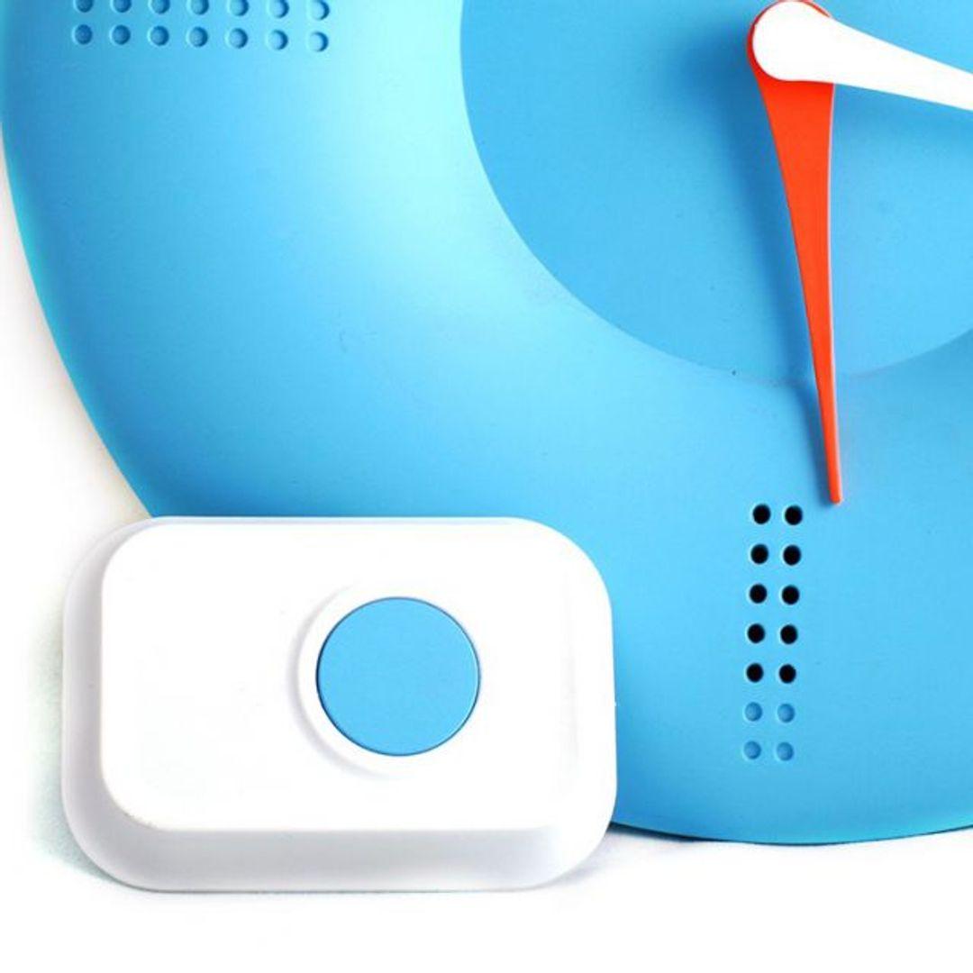 Часы Дверной звонок (Голубой) С кнопкой звонка