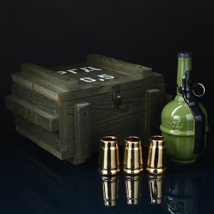 Подарочный набор в деревянном ящике с рюмками Граната РГД (3 шт)