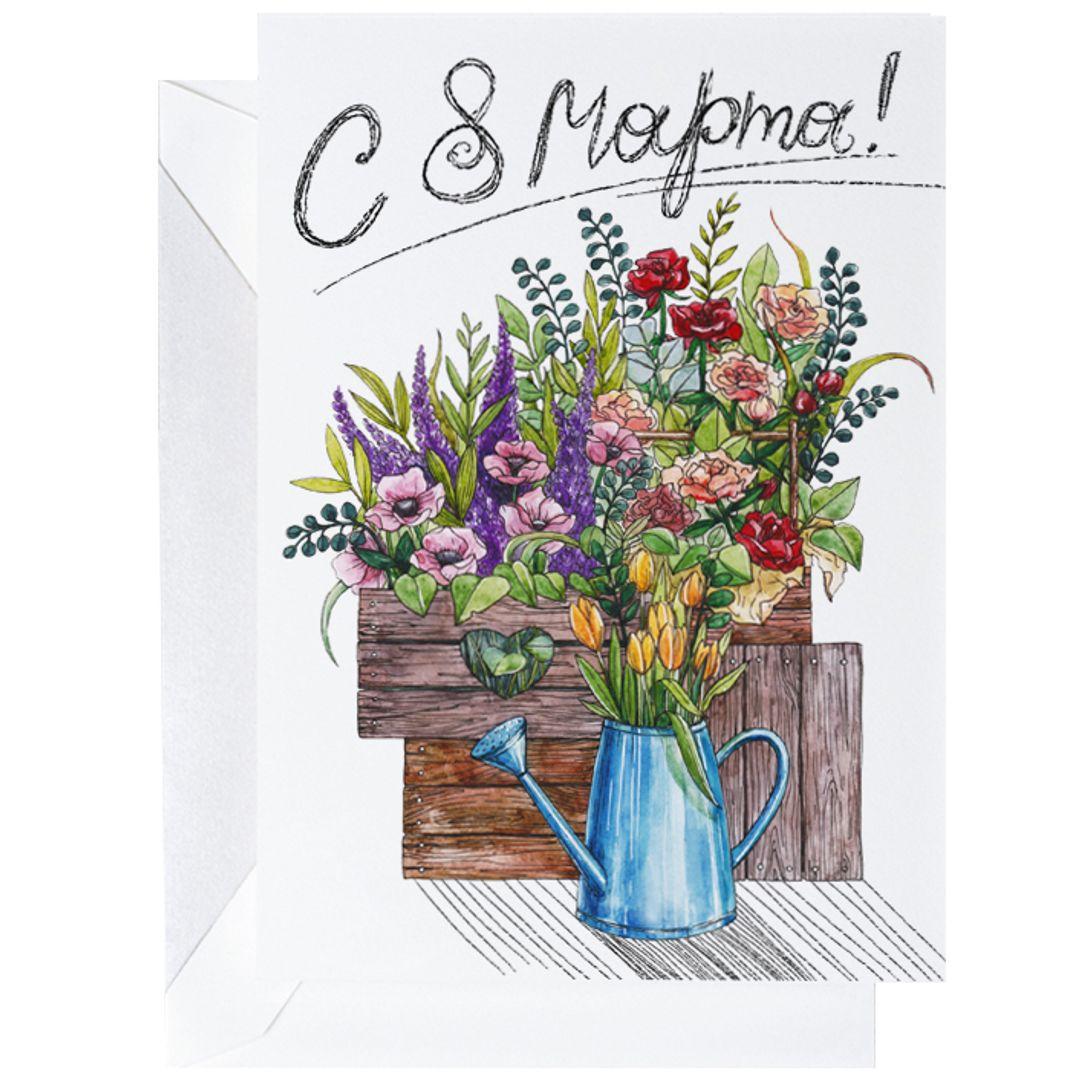 Открытка C 8 марта Цветы