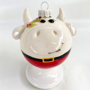Фарфоровый елочный шар Коровка Мила (ручная роспись)