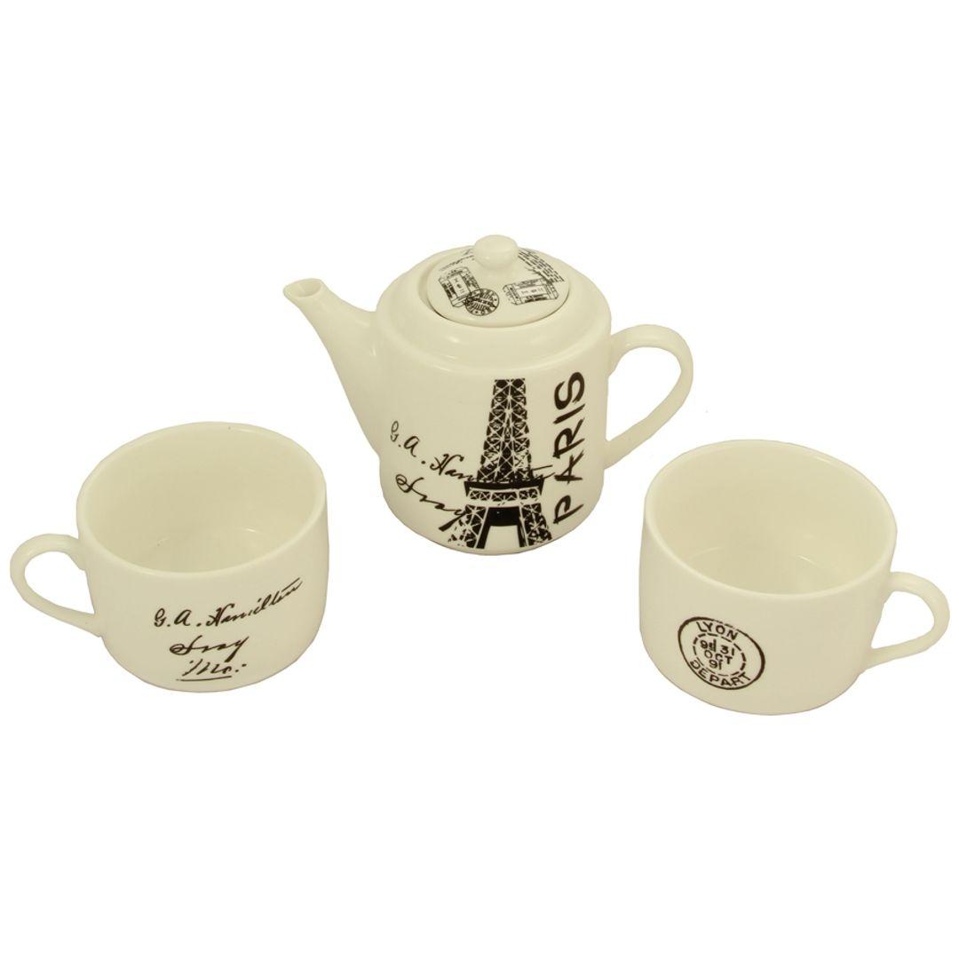 Чайный набор Париж Чайник и две чашки