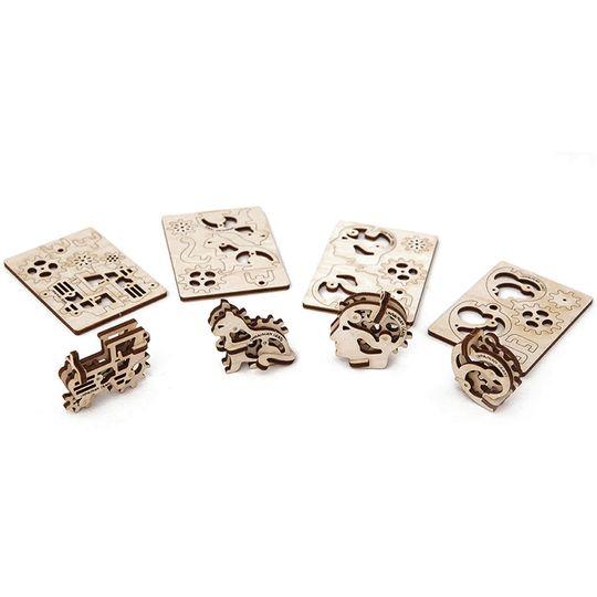 Механический 3D Пазл Ugears Трибики (4 шт.) Пазлы и пластинки, в которых были детали