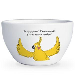 Тарелка глубокая Попугай Ты хор-р-роший! Я хор-р-роший! Все мы просто молодцы!