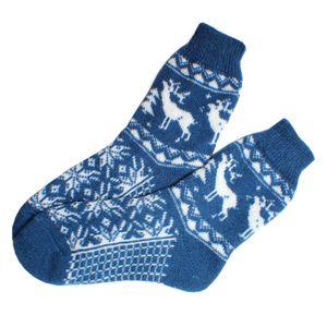 Носки шерстяные синие с белыми оленями