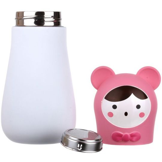 Кружка-термос Мишка Bear (Белый с розовым) Крышка и ситечко отдельно