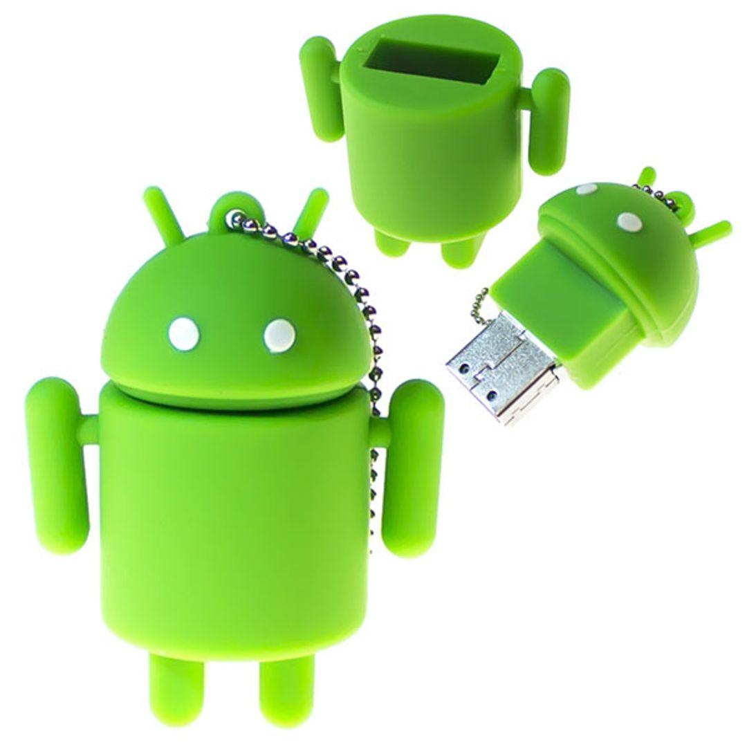 Флешка Android 16 Гб Открытая и закрытая крышка