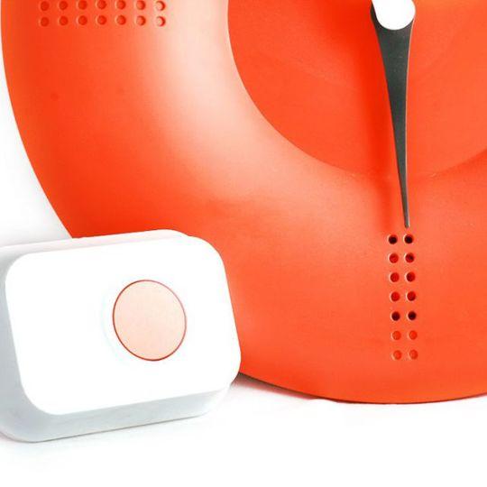 Часы Дверной звонок (Оранжевый) С кнопкой звонка
