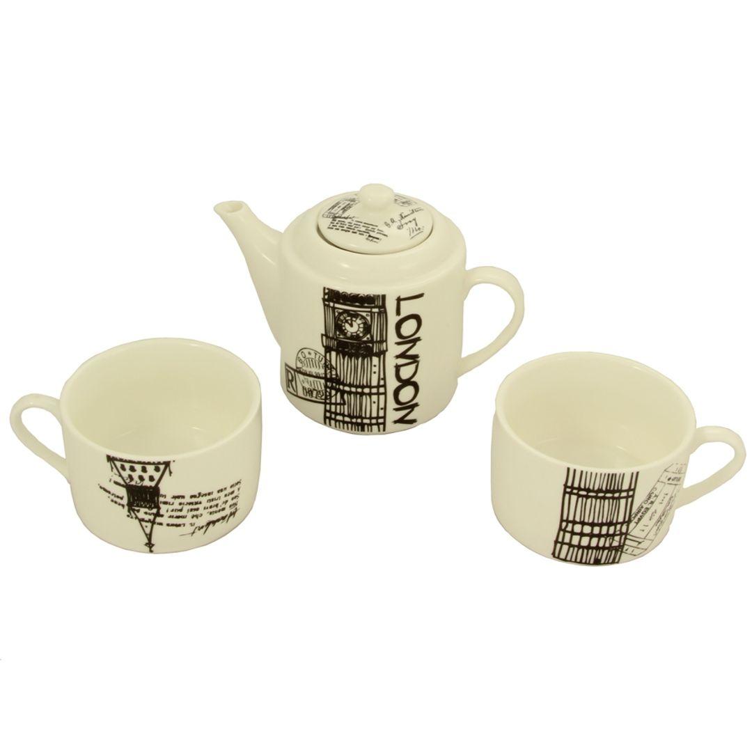 Чайный набор Лондон Чайник и две чашки